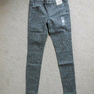 SO Low Rise Leopard Stretchy Twill Jeggings 9 Gray